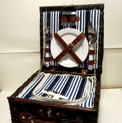 Woven Willow Square Shaped 2 Person Picnic Basket Set with Insulated Cooler  2 Person Willow Picnic Basket
