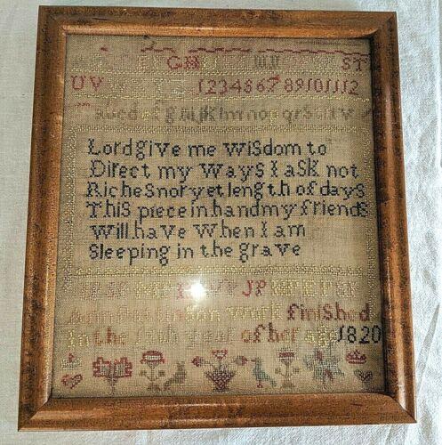 Gorgeous Antique Verse Sampler Flowers Date 1810 Birdseye Maple Ann Pattinson