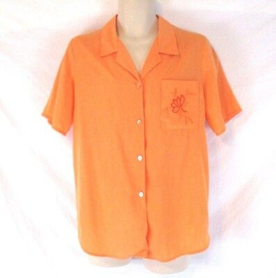 Maggie Sweet Womens Embroidered Shirt Orange Sz Small Short Sleeve Career CB51Q