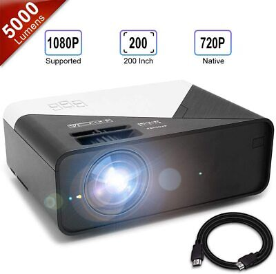 GRC Video Projector, 5000 Lux 1920x1080 Supported Full HD Native 720P Mini Movie