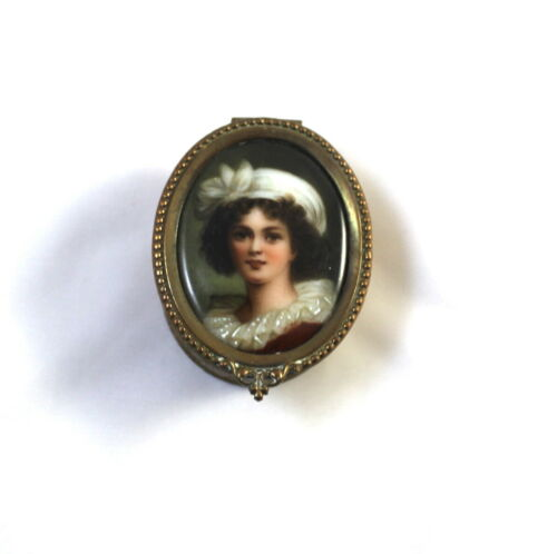 French Antique Oval Trinket Box with Porcelain Portrait of M. Antoinette Artist