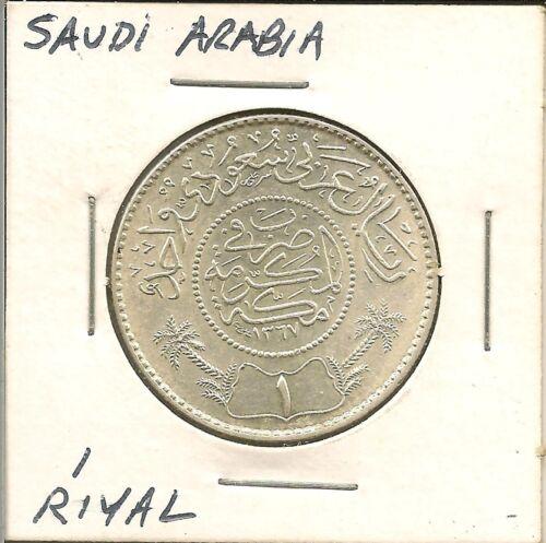 1948 (AH1367) Saudia Arabia 1 Riyal Coin (KM18)