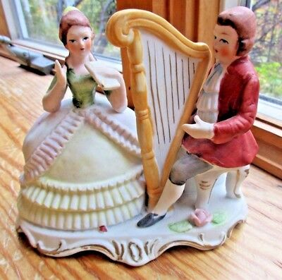 VINTAGE BISQUE PORCELAIN COLONIAL MAN WOMAN HARP FIGURINE PERIOD CLOTHING](Womens Colonial Clothing)