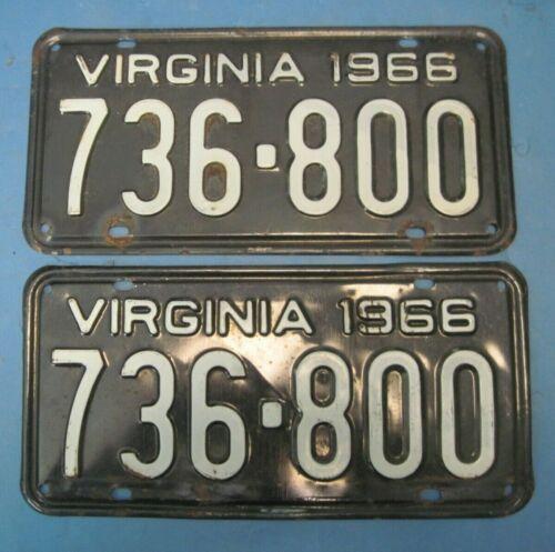 1966 Virginia License Plates Matched Pair DMV clear for vintage registration