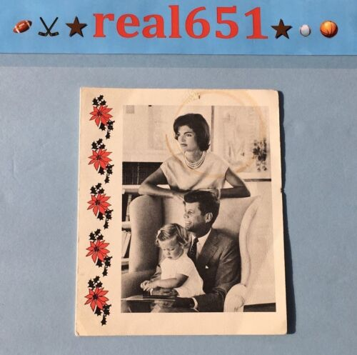 Sen JOHN F KENNEDY Christmas Card Jacqueline Caroline | Full JACK Signature 1960