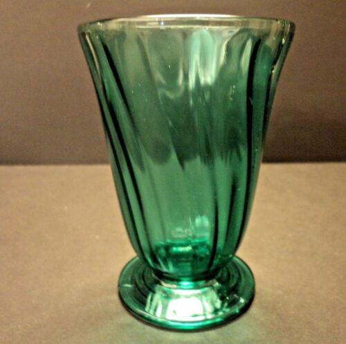 JEANNETTE SWIRL PATTERN ULTRAMARINE DEPRESSION GLASS 4 5/8 FOOTED TUMBLER 9OZ