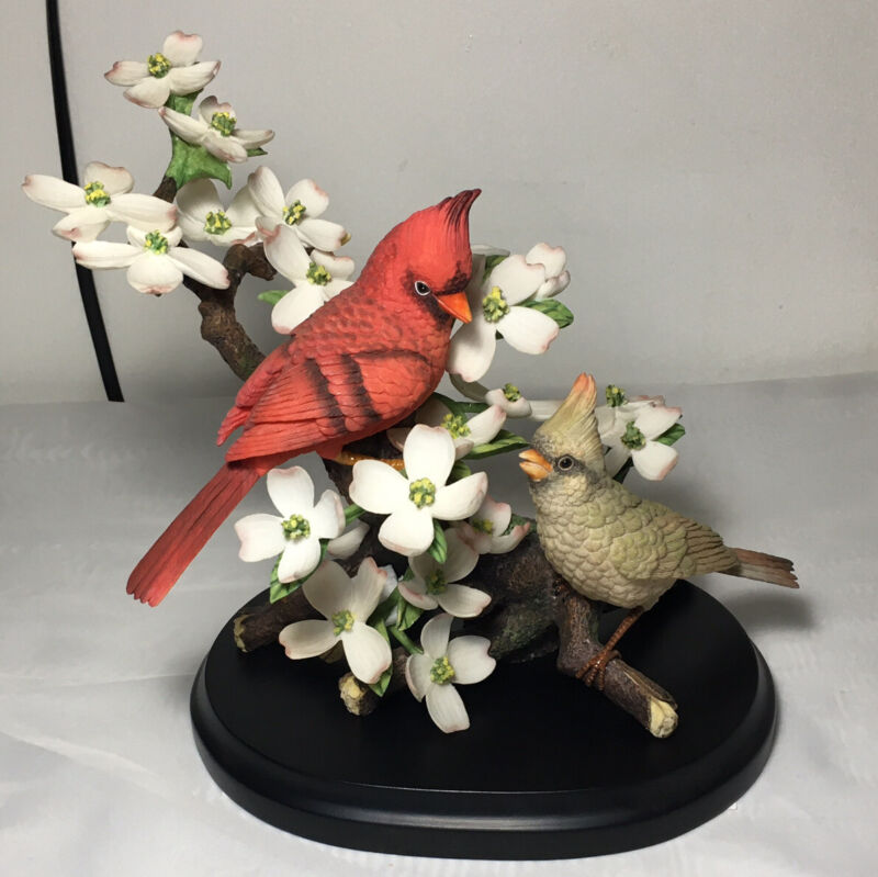 Boehm Crimson Spring Bird Figurine Cardinals On White Dogwood