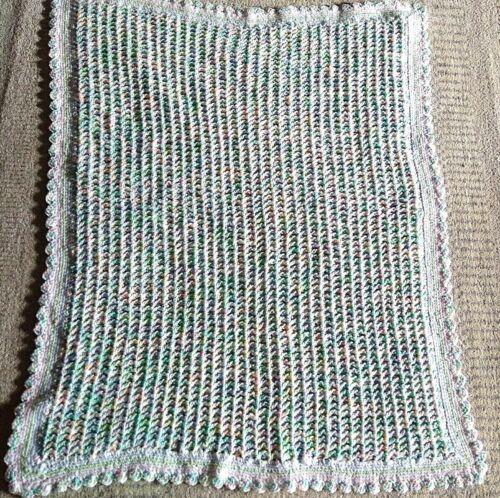 "Baby blanket 32"" x42"" Crochet   arcylic yarn in pastel ,  handmade"