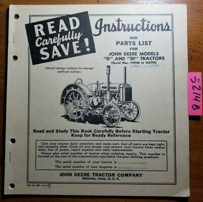 John Deere D Di 119100-143799 1931-1939 Inst Owner Operator Parts Manual 452