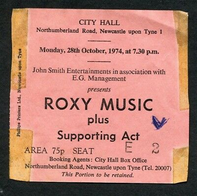 1975 Roxy Music Concert Ticket Stub Newcastle City Hall Bryan Ferry Country Life