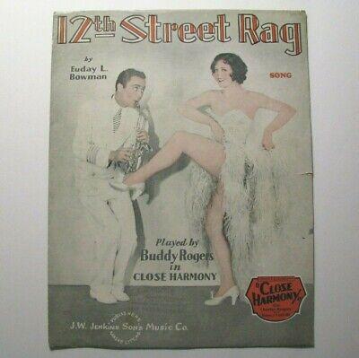 "*1929 BUDDY ROGERS FILM SHEET MUSIC ""12TH STREET RAG"" – SPENCER WILLIAMS – (12th Street Rag Sheet Music)"