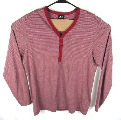 Sleeve V-neck Henley (Oakley Henley Shirt Mens XL Long Sleeve V-Neck Red Gray Stripes Regular Fit)