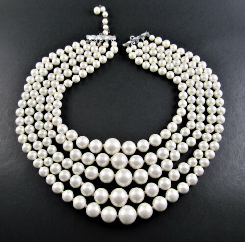 """VINTAGE 5 STRAND NECKLACE FAUX GRADUATED PEARLS BEADS 17"""" JAPAN (D9)"""