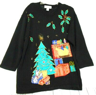 Ugly Xmas Victoria Women 2X Black Beaded Applique Tree Fireplace Gift  Sweater ](Fireplace Sweater)
