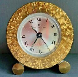 Vintage Hamilton 8-Day 7 Jewels Brass Mini Desk Swiss Alarm Clock gold trim