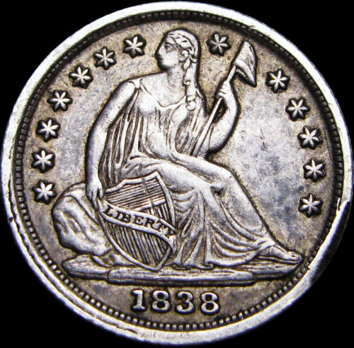1838 Small Stars Seated Liberty Half Dime ---- NICE TYPE COIN ----  #V419