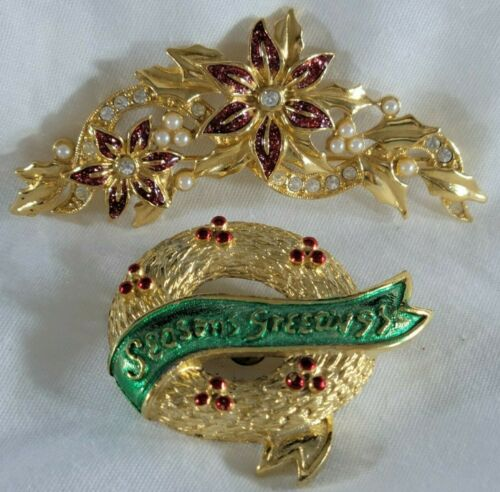Vintage Christmas Brooch Pin Lot Wreath Poinsettia Seed Faux Pearl Signed Gerrys
