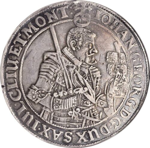 GERMAN STATES - SAXONY  1638-SD TALER/THALER SILVER COIN, NGC CERTIFIED XF-45