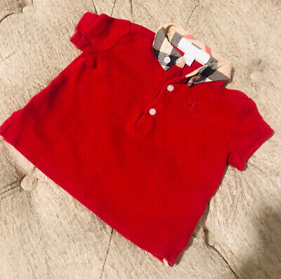9 Months ( 6m +) Authentic Burberry Baby Boys Polo Shirt Red T-shirt Red