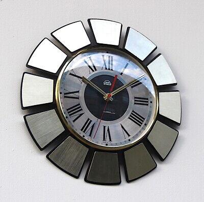 SMITHS Timecal 1970s sunburst Midcentury Industrial Factory Vintage Wall Clock