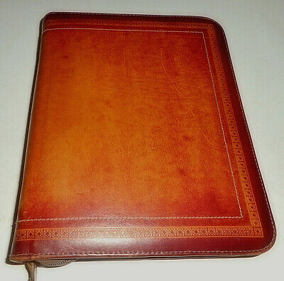 Made Usa Genuine Embossed Edge Leather Brown Day Planner Book 7 Ring Binder