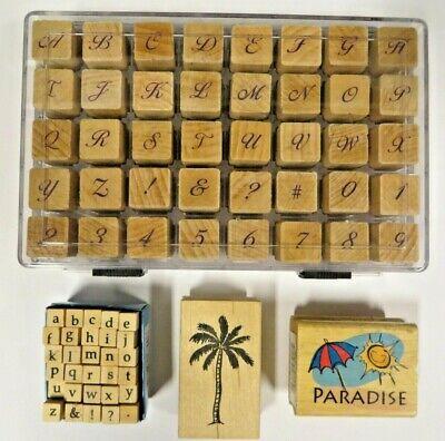Rubber Stamp Sets  Lot   alphabet Palm Tree  paradise sun -