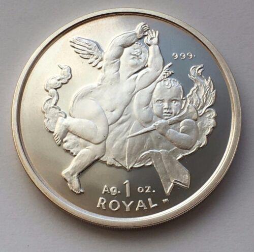 2001 GIBRALTAR 1 ROYAL TWO CHERUBS PROOF SILVER COIN
