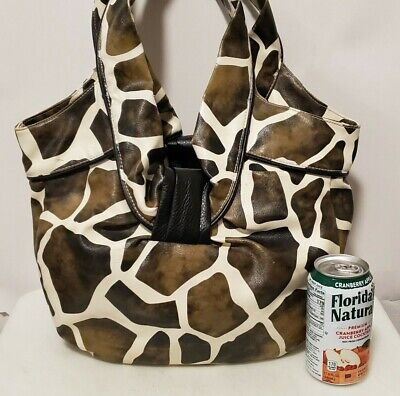 Medium Sized Fashionable Giraffe-Print Purse with Matching Small Bag Giraffe Print Fashion