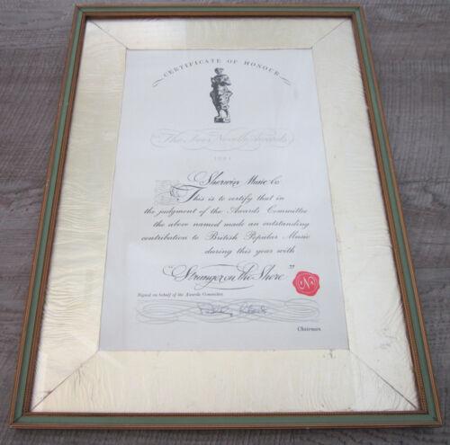 Ivor Novello Awards Certificate Of Honour 1961 Stranger On The Shore Sherwin