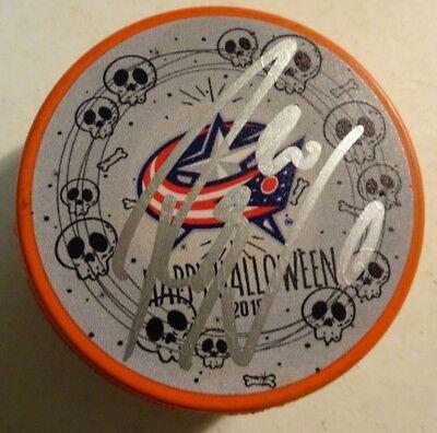 Autographed RILEY NASH Signed HALLOWEEN Columbus Blue Jackets Hockey Puck