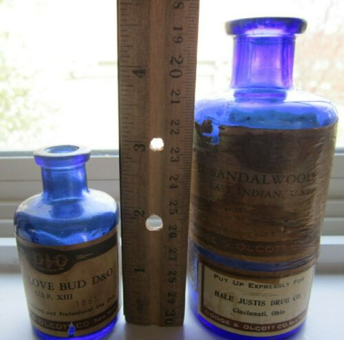 Set of 2 Cobalt Blue Dodge & Olcott Oil Bottles Hale Justis Pharmacy Apothecary