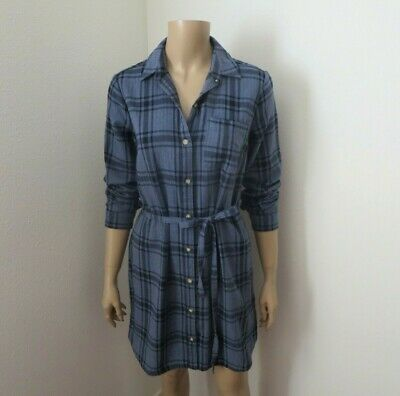 Nwt Abercrombie & Fitch Franela Cuadros Camisa Vestido TALLA XS Azul Marino