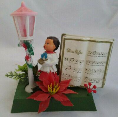 Vintage Hong Kong Soft Plastic Christmas Caroler & Lamp Post - Silent Night