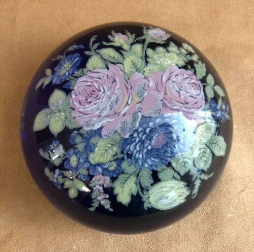 "R Strutt Austria blue glass floral paperweight signed flowers vintage 5"" desktop"