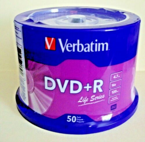VERBATIM  DVD + R LIFE SERIES  50 PACK  120 MIN 4.7 GB 16 X SPEED