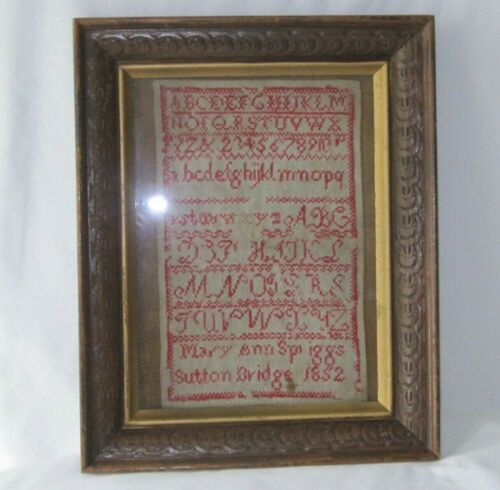 Antique Vintage 1852 Sampler Mary Ann Spriggs Sutton Bridge Lincolnshire England