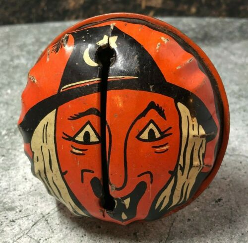 Vintage Halloween Kirchhof Noisemaker Witch Life of Party Tin Noise Maker 1950s