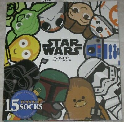 15 Days of Socks Advent Calendar - Star Wars - Women's Shoe Size 4 - 10