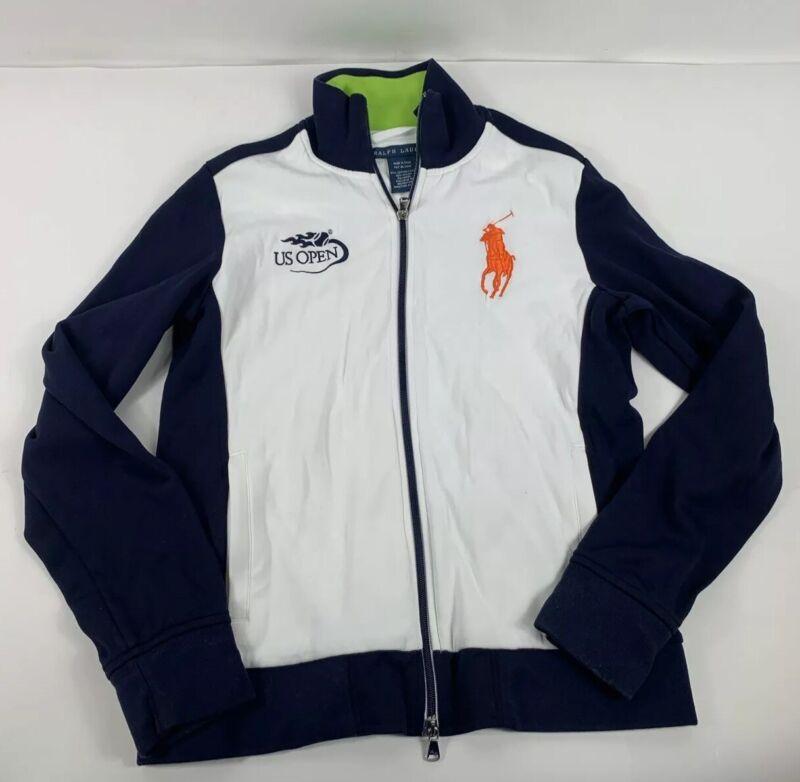 Women's POLO RALPH LAUREN - US Open Tennis Track Jacket - Size Large White Navy