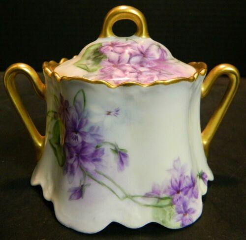 Antique Z.S. & Co. Violets Covered Sugar Bowl Bavaria Gold Trim Excellent Cond