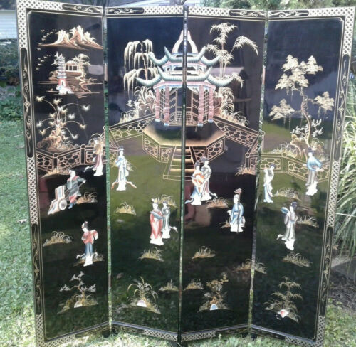 Vintage Asian Black Lacquer Wooden Folding Screen 4 Panel Room Divider