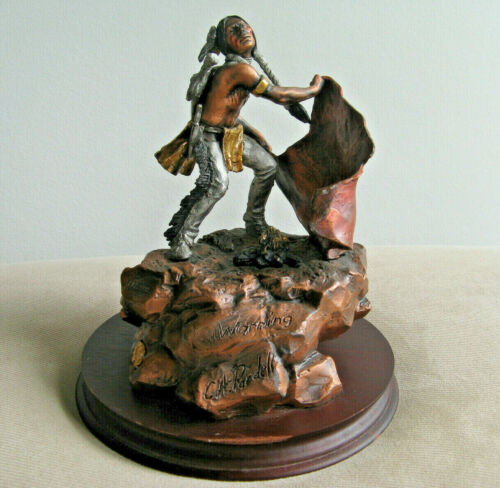C.A. Pardell Warning 1990 Mixed Media Bronze Sculpture Limited Edition #487/2500