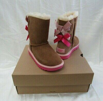 NIB/NEW UGG Australia Kids Girls Bailey Bow II Chestnut Suede Boots Size 2