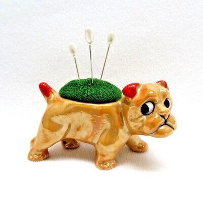Gold Lusterware Bulldog Pin Cushion
