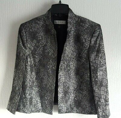 Kasper Size 20 gunmetal grey metallic Jacquard open front collarless jacket BNWT