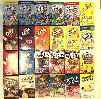 Hawaiian Punch Singles - Hawaiian Punch - Wyler's  - Crush -Welch's - A&W - Margaritaville Singles To Go