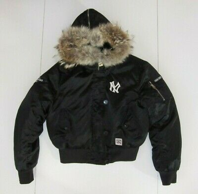 NEW YORK YANKEES Black Warm MLB BASEBALL JACKET Down/Fur Winter Coat Sz Women L