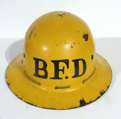 Vintage Msa Skullgard Type K Full Brim Miners Hard Hat B.f.d. Yellow Brown Usa