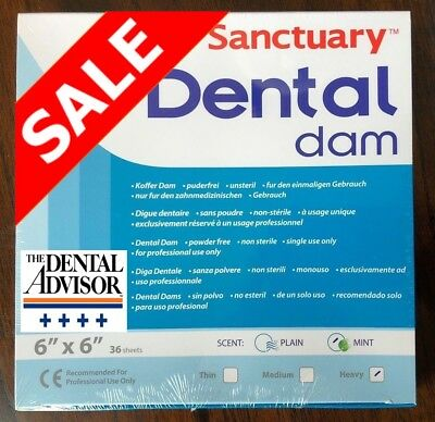 20 Box 720 Sheet Sanctuary Dental Rubber Dam Latex 6x6 Heavy Mint Green -onsale