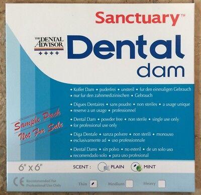 Free Sample Pack 3pk  Sanctuary Dental Rubber Dam Latex 6x6 Thin Mint Green